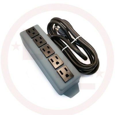 POWER STRIP 15A 120V 5 OUTLETS, NO SWITCH, 6' CORD